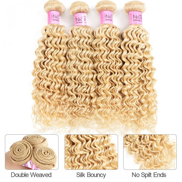 UNice Hair Icenu Series 613 Blonde Human Hair Deep Wave 4 bundles Virgin Deep Wave Blonde Human Hair Weave 4pcs 10-24 inch