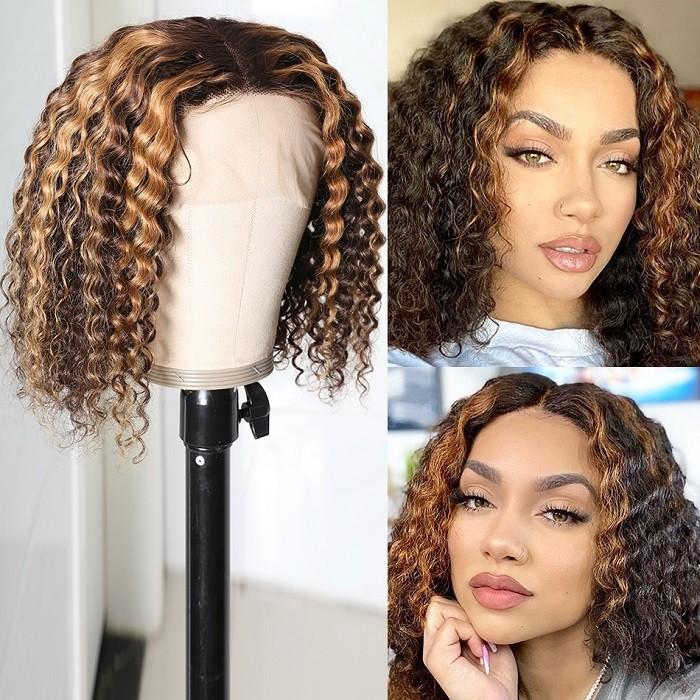 UNice Perruque Bob Water Wave Lace T Partie Frontale Couleur 430 Cheveux Humains 150% Densité 12 Pouces Bettyou Séries
