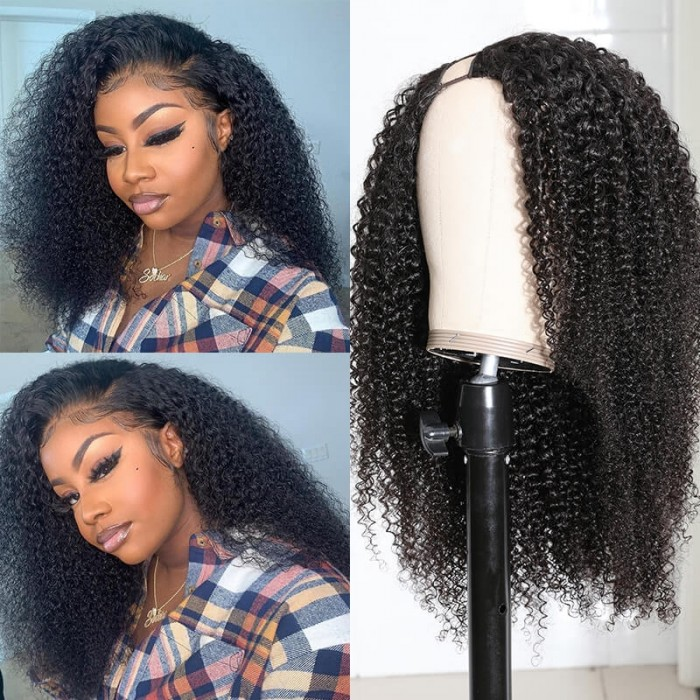 Unice hair Afro Kinky Curly Wig U Part Wig Human Hair Wigs Brazilian Remy 150 Density Glueless Human Hair Wig  for African American Women 4c Curly Bettyou Series