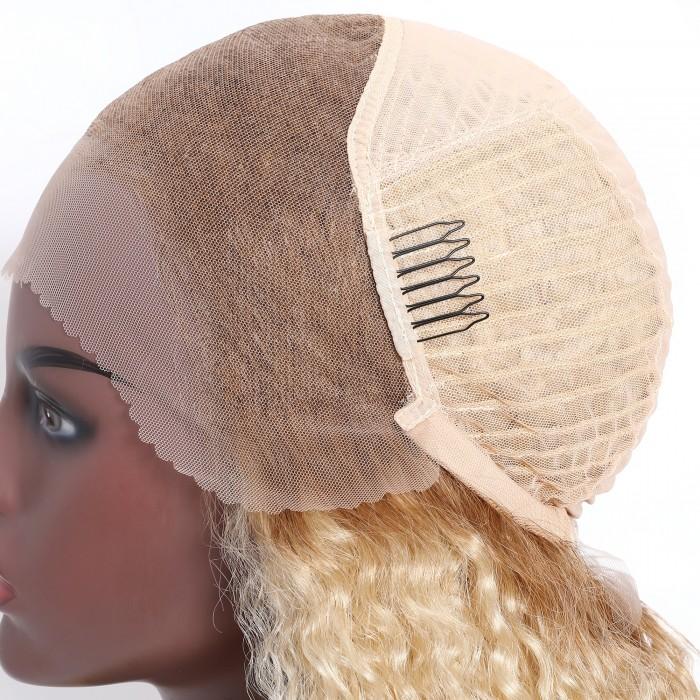 UNice Perruque Bouclé T4 613 Perruque Bob Dentelle Pour Femmes Afro 13x4 Dentelle Frontale Cheveux Humains 150 Densité 12 Pouces Bettyou Série