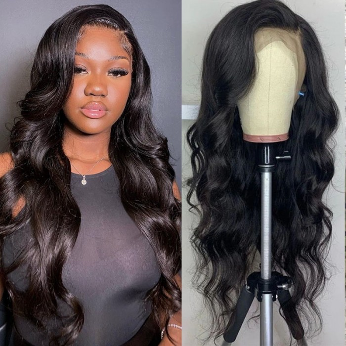 UNice Affordable Lace Front Wigs Body Wave Real Black Hair Wigs Lace Front Wig Pre-plucked Human Hair Wigs with Baby Hair Natural Color Bettyou Series