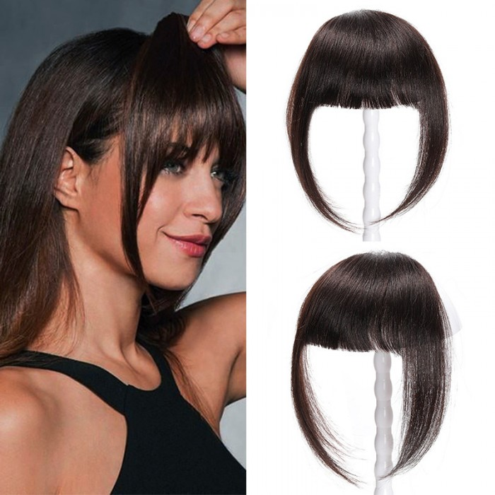 UNice Clip In Human Hair Flat Bangs With Temples One-piece Front Neat Hair Bangs Extension Full Tied Bangs Flat Fringe Hairpiece for Women