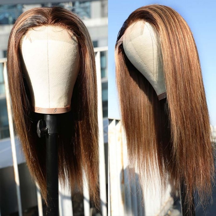 UNice Lace Wig Middle Part Straight Hair Wigs 18inch 150% density Blonde Wig Brown Highlight Wig Long Straight Bettyou Series