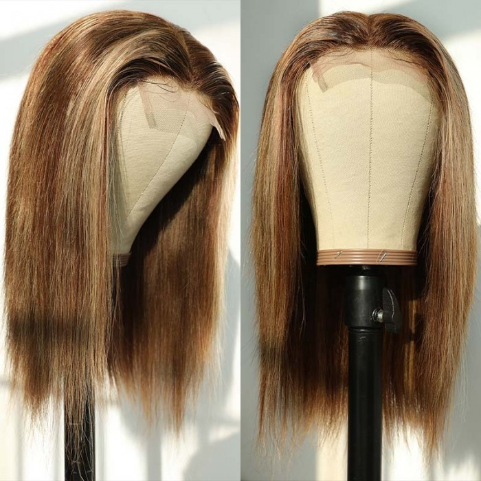 UNice Lace Wig Middle Part Straight Hair Wigs 14inch 150% density Blonde Wig Brown Highlight Wig Long Straight Bettyou Series