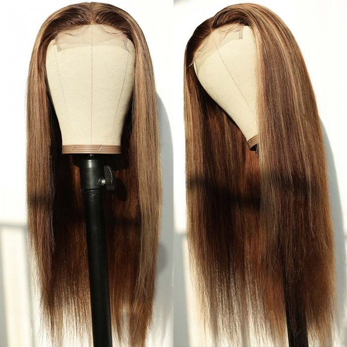 UNice Lace Wig Middle Part Straight Hair Wigs 22inch 150% density Blonde Wig Brown Highlight Wig Long Straight Bettyou Series