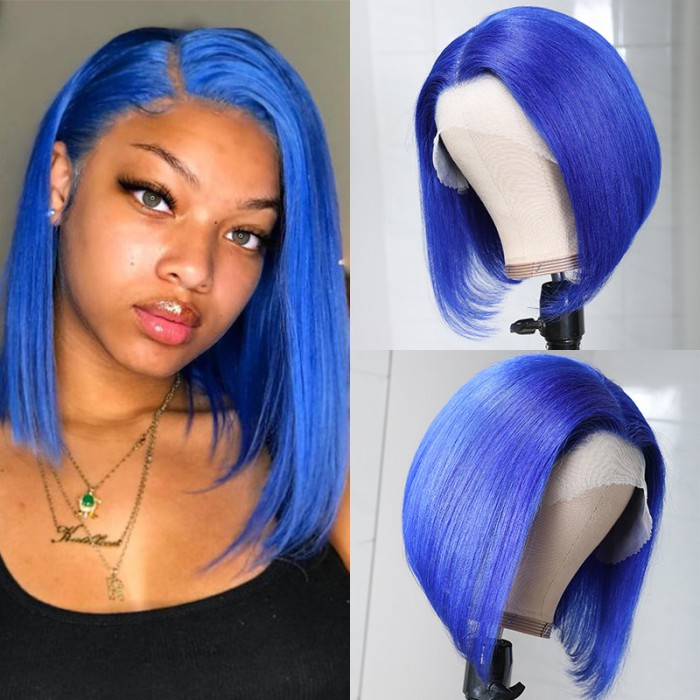 UNice Blue Bob Wigs Human Hair Lace Front Wigs Pre Plucked 13×4 Swiss Lace Wig Middle Part 150% Density Bettyou Series