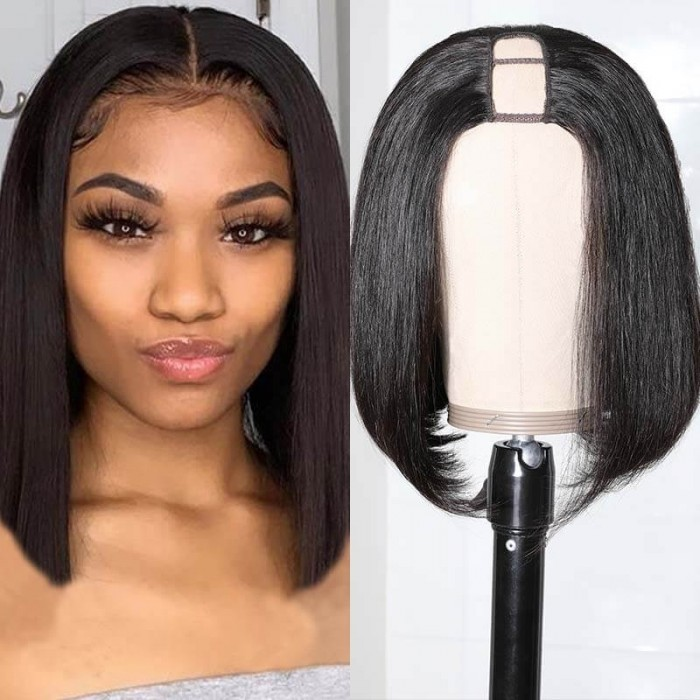 Unice Hair U Part Lace Wig Straight Human Hair Short Bob For Black Women Pre Plucked With Baby Hair Short Bob Wigs Bettyou Series