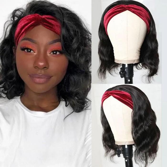 Flash Deal Short Bob Body Wave Headband Wig 150% Density 14 Inch Human Hair Wig
