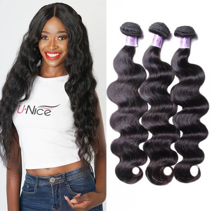 UNice Hair Kysiss Series Virgin+ Peruvian 100% Virgin Human Hair Body Wave 3 Bundles