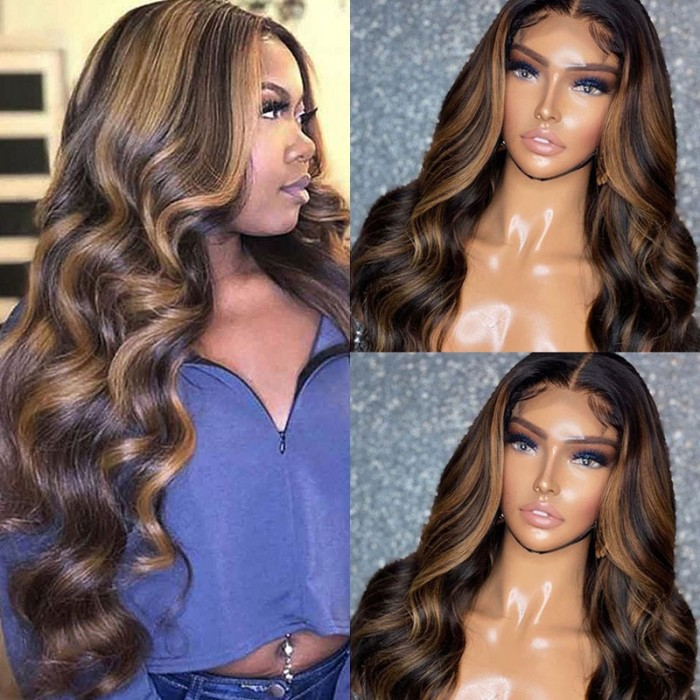 Mix Color #FB30 Body Wave T Part Lace Front Wig Bronde Highlight With Baby Hair