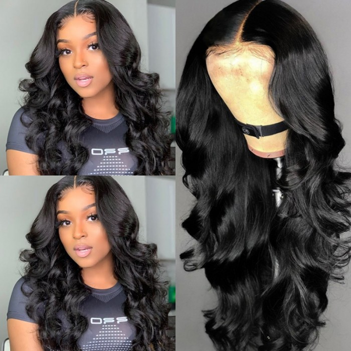 Cut To Free UNice Body Wave 18inch Lace Front Wig 150 Density T Part Wigs Natural Black
