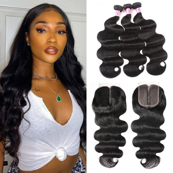 UNice Hair Body Wave Virgin Hair 3 Bundles With Closure Middle Part 100% Unprocessed Human Hair Remy Hair Extensions