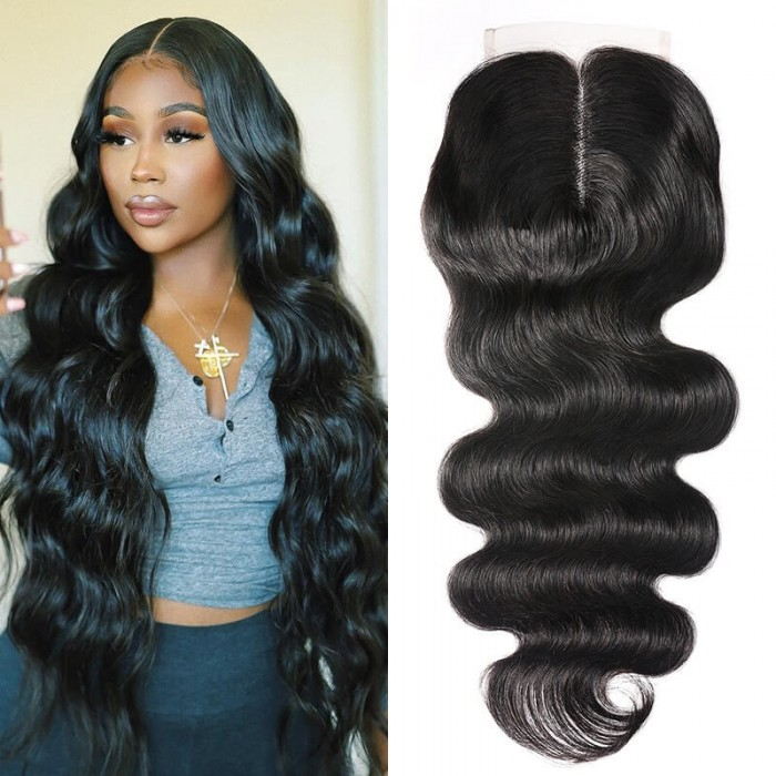 Cut To Free UNice Body Wave Upgrade Lace Closure Middle Part 20 Inch 4x0.75 T Part Closure