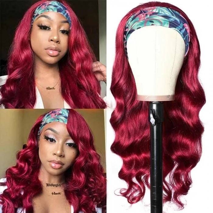 UNice Burgundy Wigs Adjustable Headband Wig Glueless Human Hair Wigs With Pre-attached Scarf Natural Color Bettyou Series