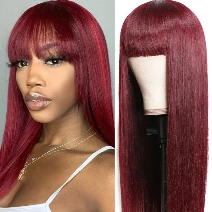 UNice Burgundy Silk Straight Human Hair Wigs with Bangs Glueless Machine Made Wigs for Women Real Hair Wig Bettyou Series