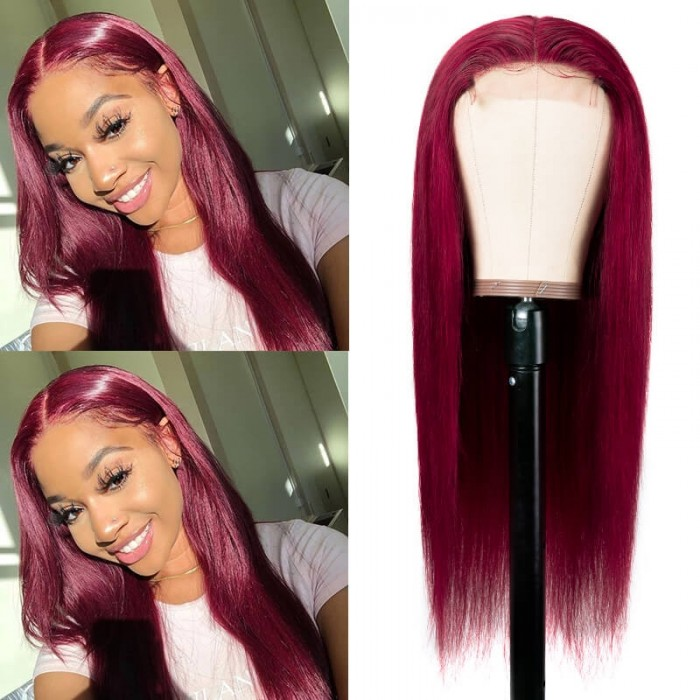 Unice Hair Burgundy Wig Lace Wig Hand Tied Lace Part Wig Pre Plucked Natural Looking Colored Human Hair