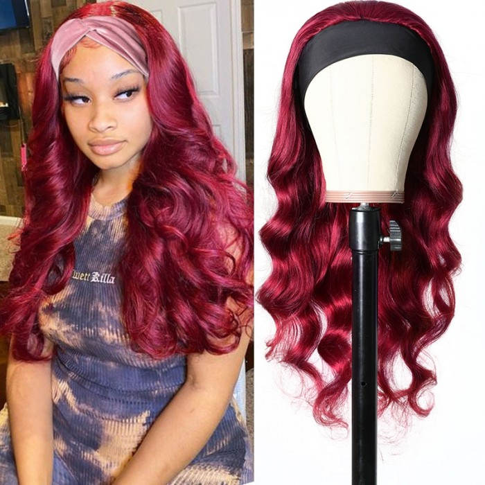 UNice Burgundy Wigs Adjustable Headband Wig Glueless Human Hair Wigs With Pre-attached Scarf Bettyou Series