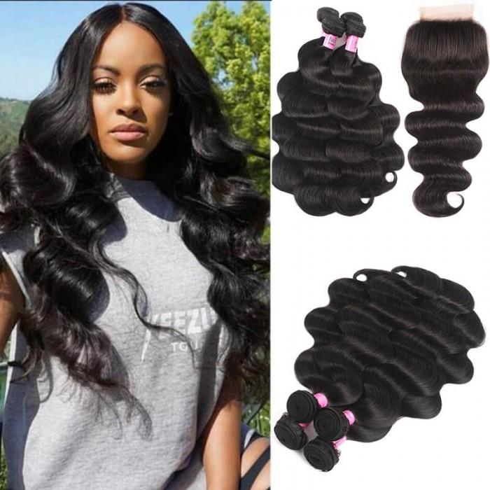 UNice Hair Icenu Series 4 Bundles Indian Body Wave Hair Weft With Closure