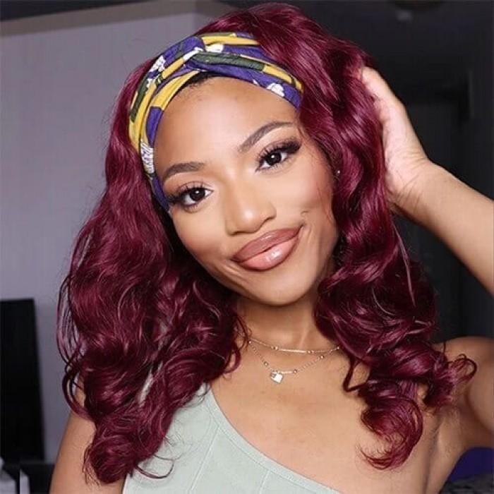 UNice 14inch Shoulder Length Burgundy Body Wave Headband Wig Glueless Wear and Go