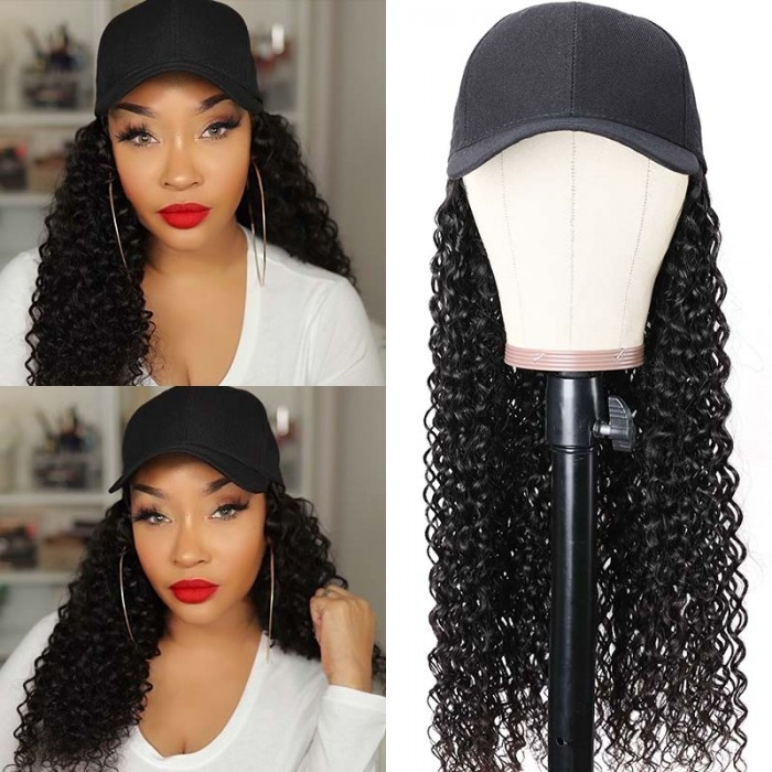 UNice Baseball Cap Hair Wig Hat Jerry Curly Wigs Naturally Connect Human Hair Hat Wig Adjustable For Girl Quick & Easy Bettyou Series