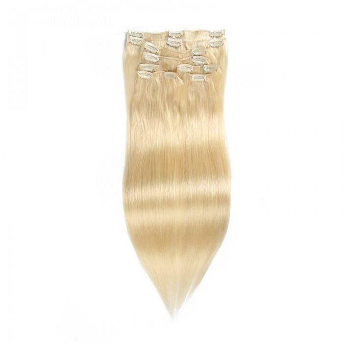 UNice 100g #613 Lightest Blonde Clip In Hair Extensions Virgin Hair Extensions 8Pcs/set
