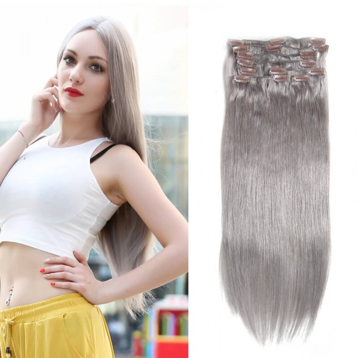Unice 100g 80 Grey Clip In Hair Cheap Virgin Hair Extensions 8pcs