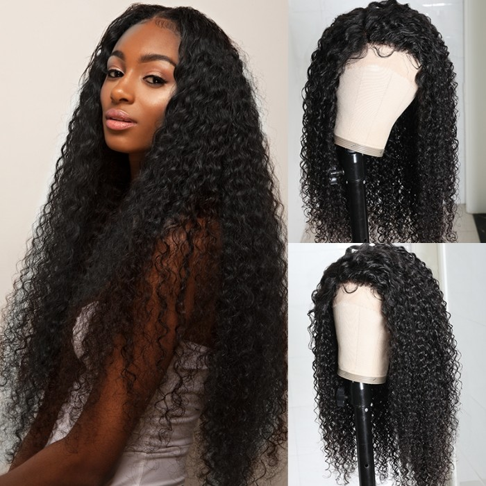 UNice Jerry Curly Wigs Lace Part Wig Three Part Swiss Lace Wigs for Women Can Middle Part Left Part Right Part Bettyou Series