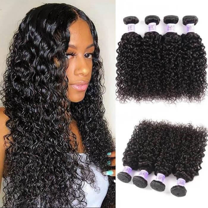 UNice Hair Kysiss Series 4 Bundles Peruvian Human Virgin Jerry Curly Hair