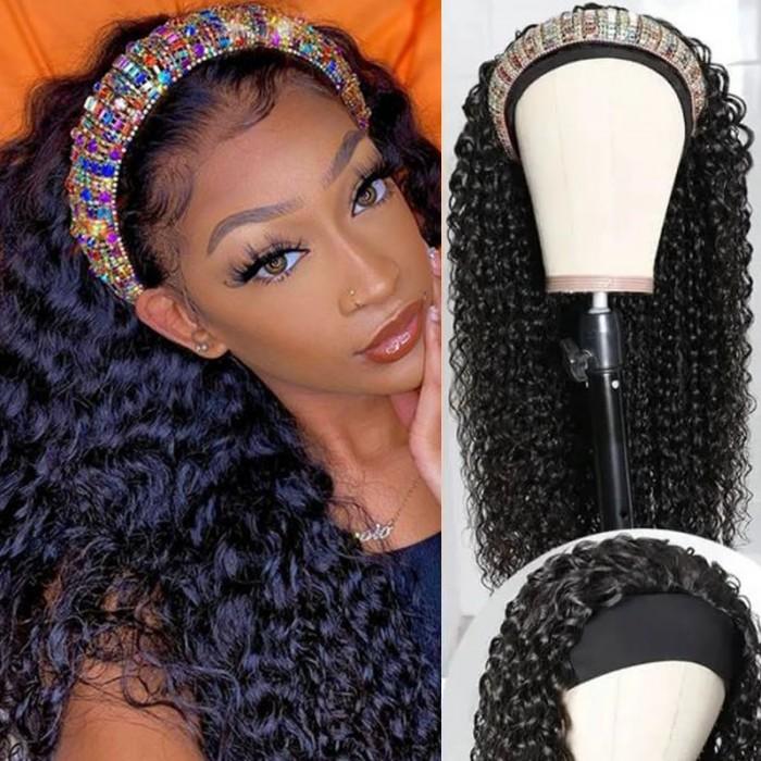 Flash Sale 16inch Headband Scarf Hair Wig Curly Virgin Human Hair Glueless Wigs No plucking wig