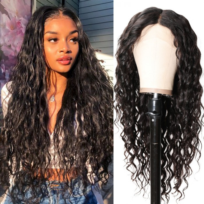18inch Virgin Magic Wet and Wavy Deep Wave 13*4 Lace Front Wig 150% Density Natural Black