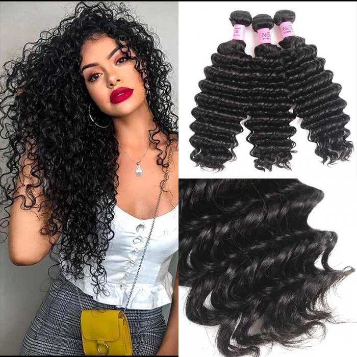 UNice Hair Icenu Series Good Quality 3 Bundles Human Virgin Hair Deep Wave Hair