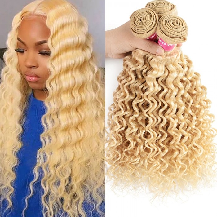 UNice Hair Icenu Series 613 Color Hair Weft Blonde Deep Wave Bundles 10-24 Inch Remy Human Hair Weave Platinum Blonde 3 Bundles