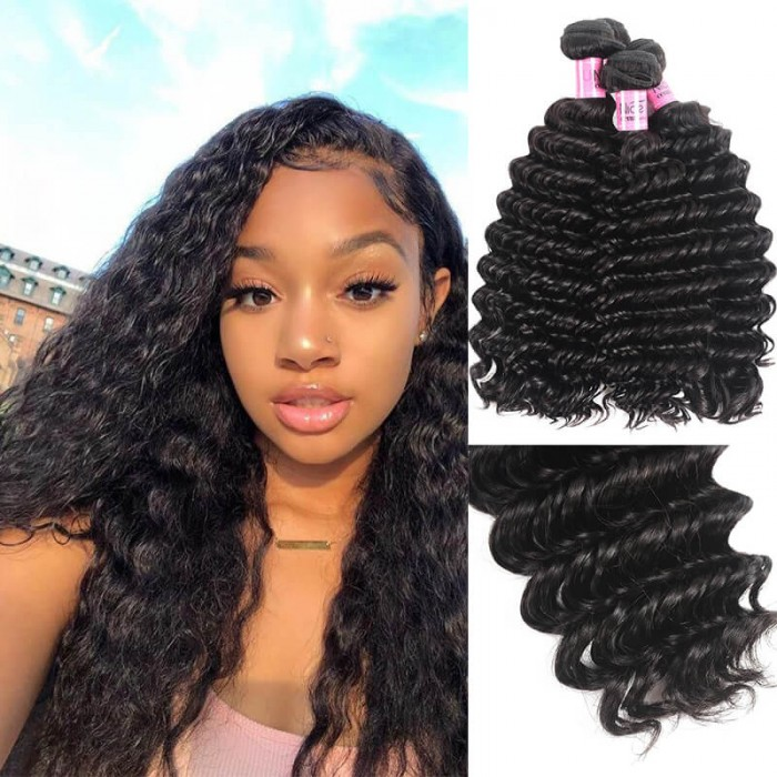 UNice Hair Icenu Series 3 Bundles Indian Deep Wave Human Virgin Hair