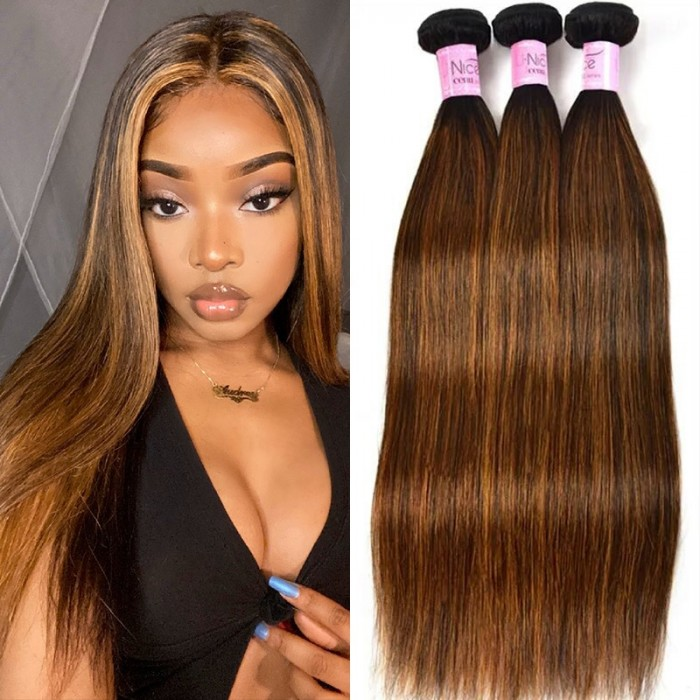 UNice Hair Virgin 3 Bundles Deals Colored Hair Weave #FB30 Straight Hair