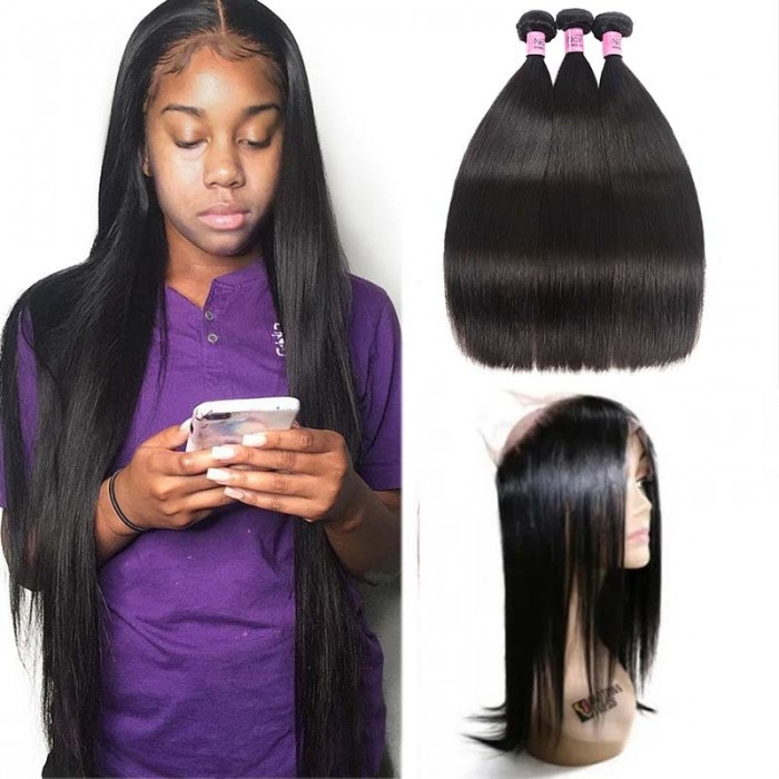 UNice Hair Icenu Series 3 Bundles Straight Human Virgin Hair With 360 Lace Frontal