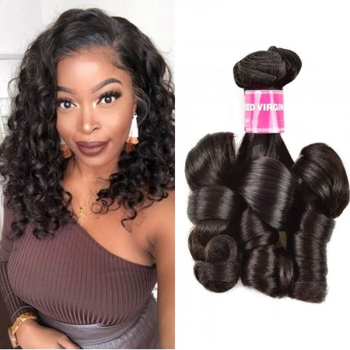 UNice Virgin Hair Aunty Funmi Hair Weft 100% Human Hair Weave Aunty Fumi Bouncy Curlys Weave Extensions 1b Black Hair for Women
