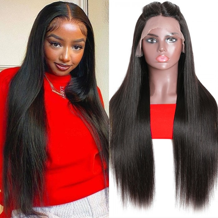 UNice Glueless Wigs With Lace Part 100% Straight Human Hair Lace Wigs With Three Part Middle Part , Left part, Right part Natural Color Bettyou Series