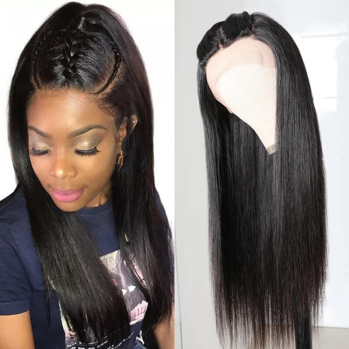 UNice Glueless Wigs With Lace Part 100% Straight Human Hair Lace Wigs With Middle Part , Left part, Right part Natural Color Bettyou Series