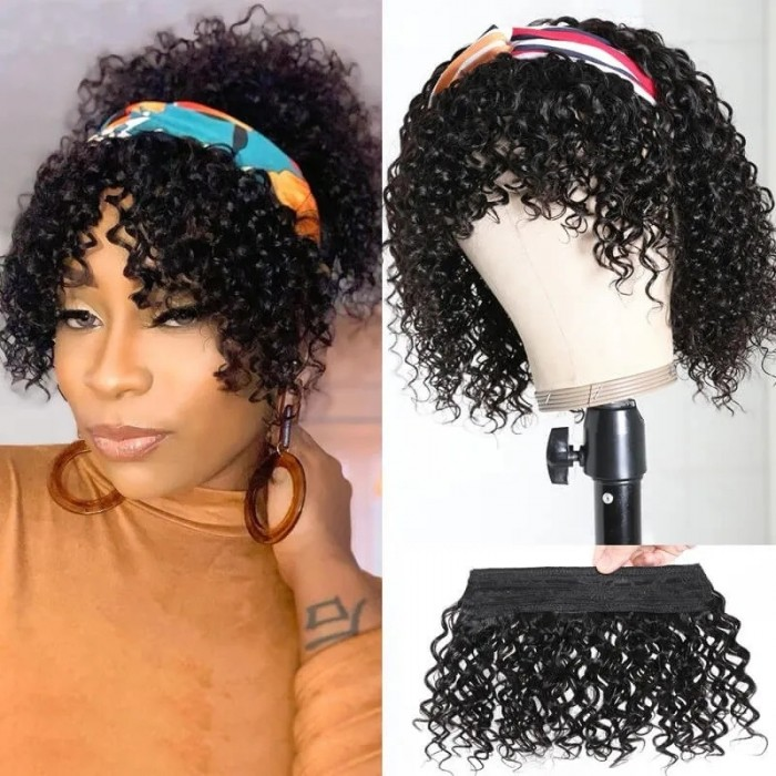 UNice Headband Wigs with Bangs Short Jerry Curly Wig Wrap Wigs for African American Women Bettyou Series