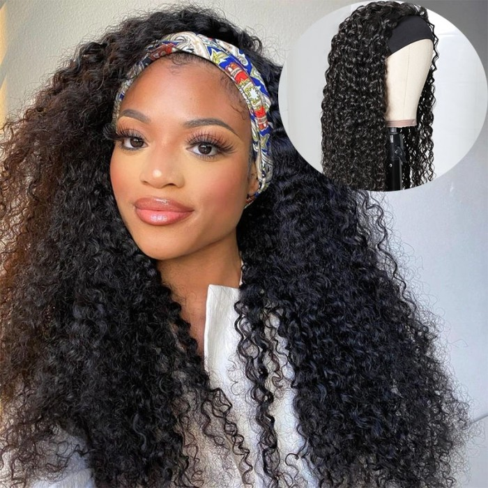 UNice Hair Headband Scarf Hair Wig Curly Virgin Human Hair Glueless Wigs No plucking wig for women Virgin Hair Non Lace Front Wig Bettyou Series