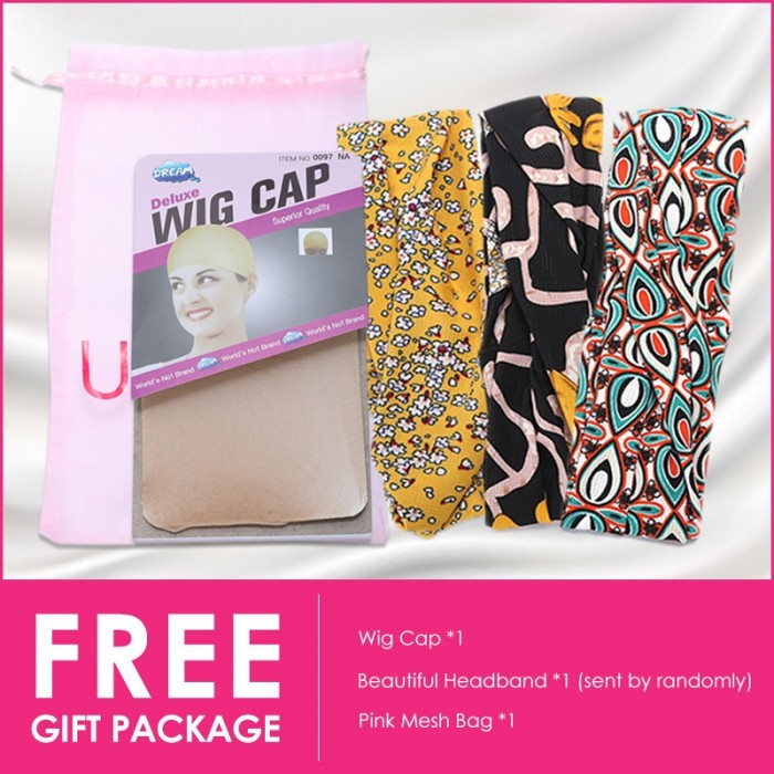 Unice FREE gift package: wig cap beautiful headband neck lace and pink mesh bag