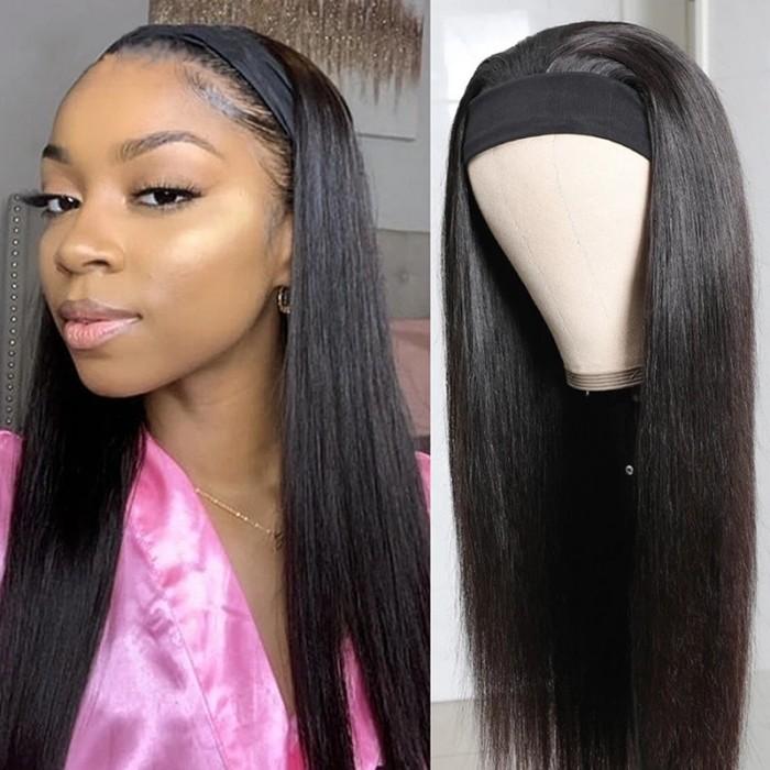 Flash Sale UNice Straight Human Hair Wig 18 Inch Brazilian Virgin Hair Headband Wig 150% Density