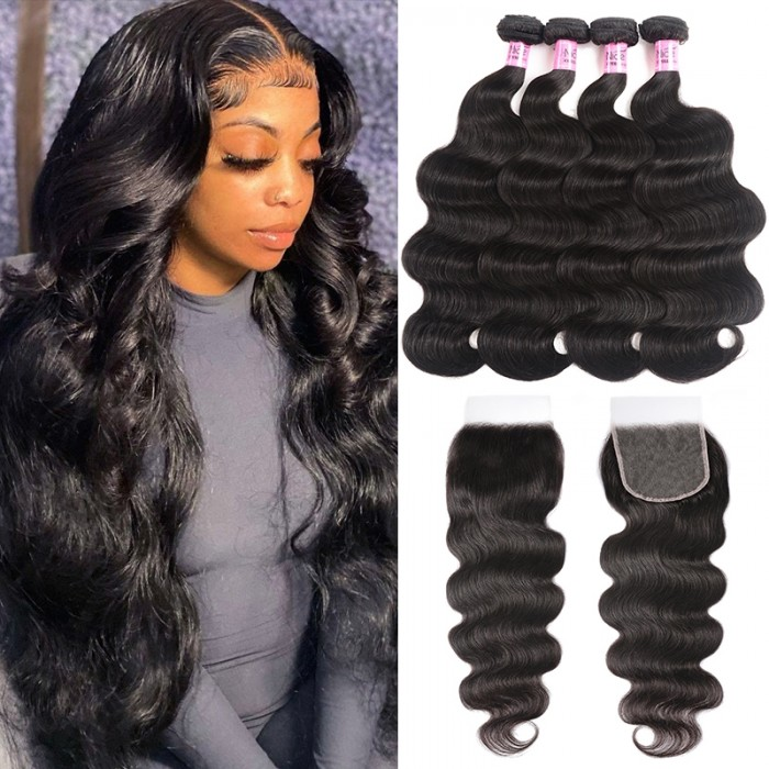 UNice Hair 5x5 HD Lace Closure With 4 Bundles Body Wave Human Hair Weaves Transparent Lace Natural