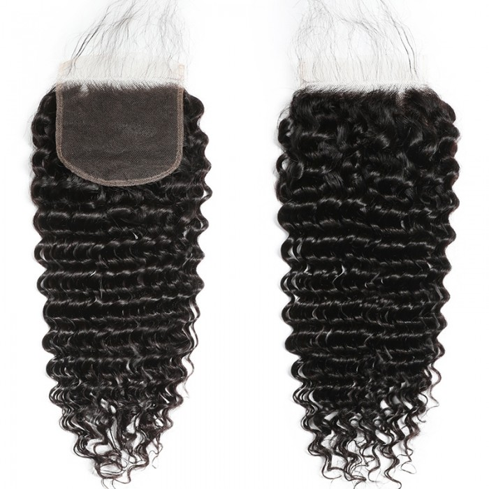 Unice Invisible 5x5 HD Lace Closure Free Part Deep Wave Human Hair With Baby Hair