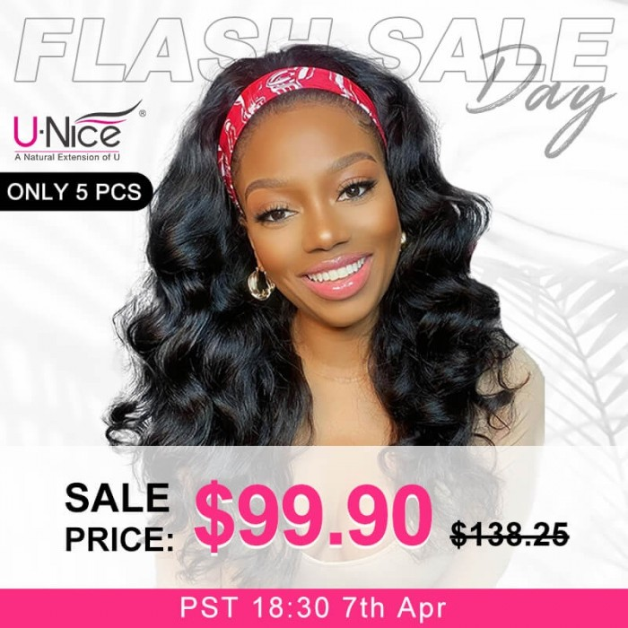 UNice New Headband Wig Body Wave 22 Inch Headband Half Wig Human Virgin Hair Wig Bettyou Wig Series