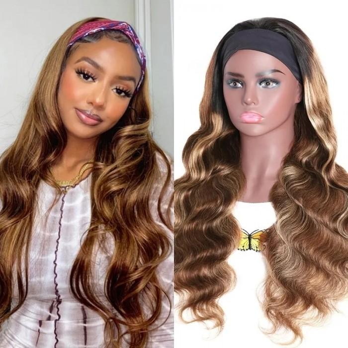 Flash Sale 18 Inch Honey Blonde Ombre Highlight Body Wave Headband Wig 150% Density