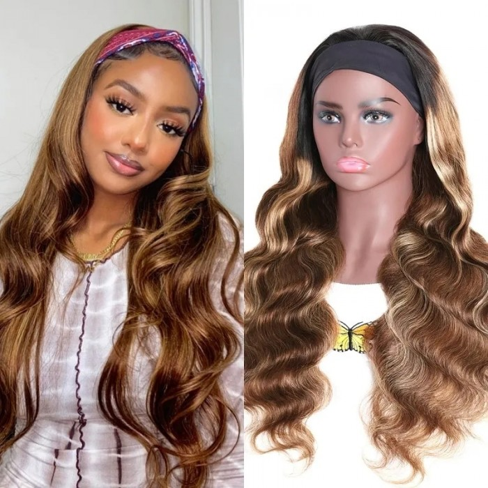 Flash Sale 20 Ince Honey Blonde Ombre Highlight Body Wave Headband Wig 150% Density
