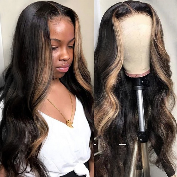 UNice Highlight Ombre TL27 Straight Human Hair Lace Part Wigs 150% Density Bettyou Series