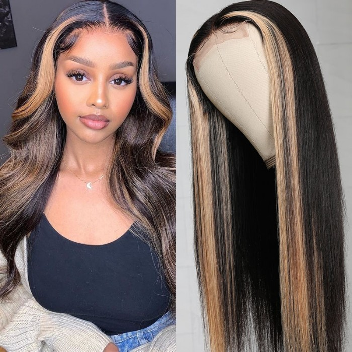 Cut To Free UNice Highlight Ombre TL27 Lace Part Wigs 16Inch 150% Density