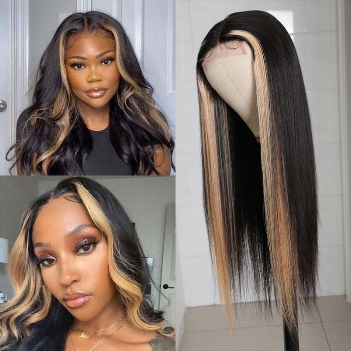 Flash Sale UNice Highlight Ombre TL27 Straight Human Hair Lace Part Wigs 150% Density 18 Inch